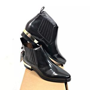 NEW Zara Black Ankle Boots Gold Heel Size 6 36